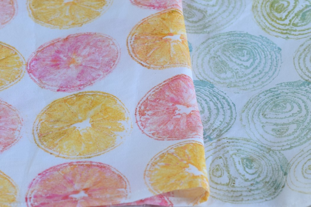 Fabric printed with lemons and onion