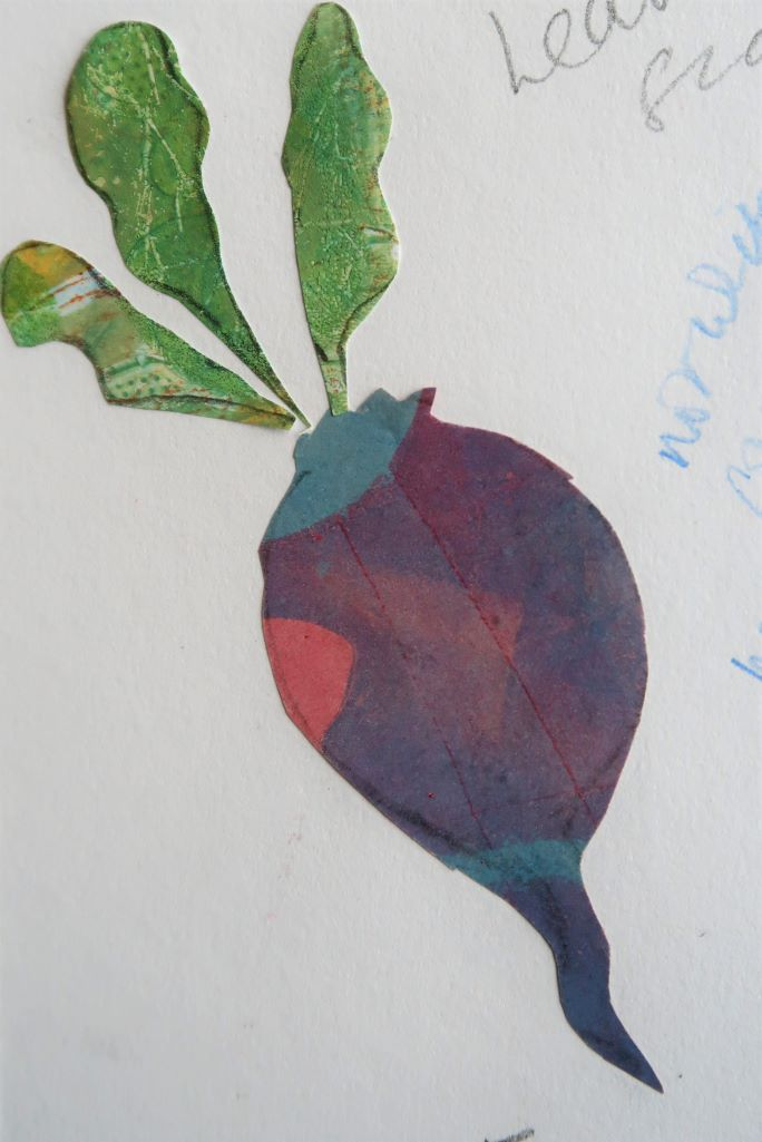 collage of beetroot using hand printed paper