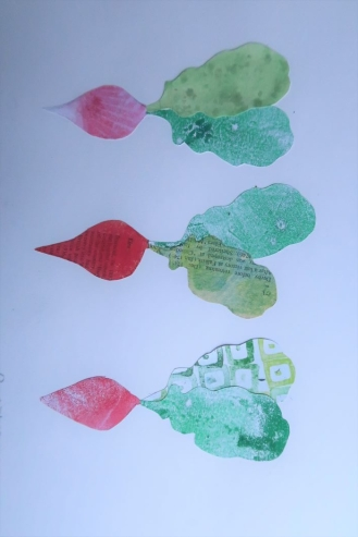 collage of radishes with hand printed paper