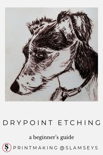 drypoint etching of dog's head