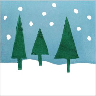 Simple reduction lino print of trees and snow