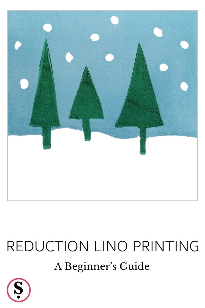 Reduction Lino Printing of trees in snow