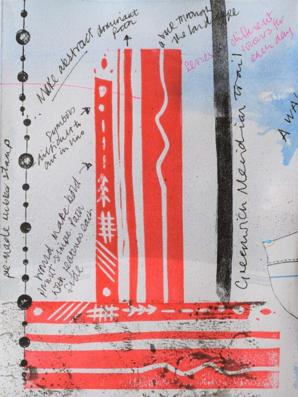 Page from printmaking sketchbook