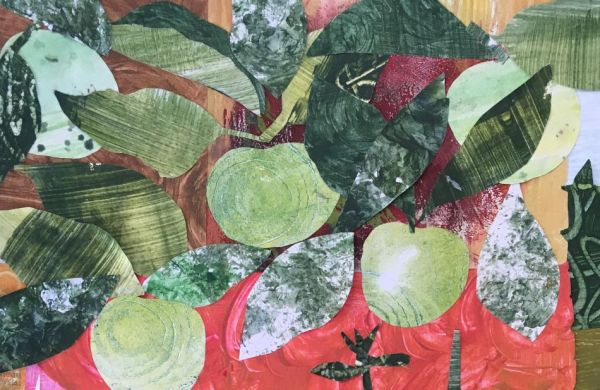 collage of apples and leaves