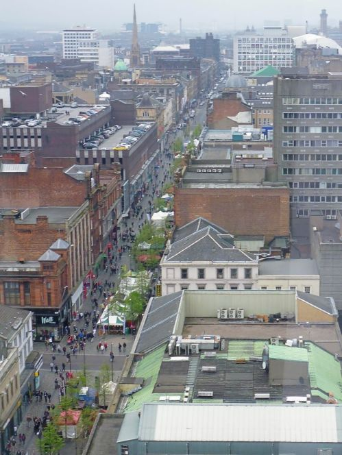 Glasgow street from high building