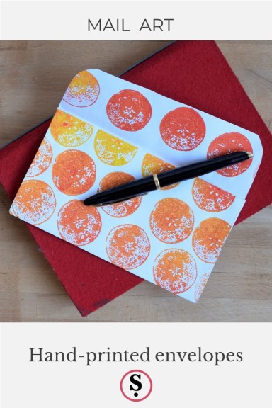 hand printed envelope with text Mail Art, hand printed envelopes