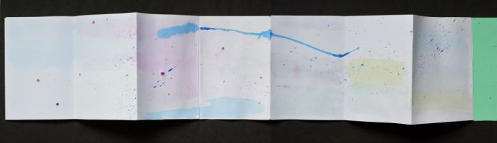 concertina sketchbook with wash and spatters