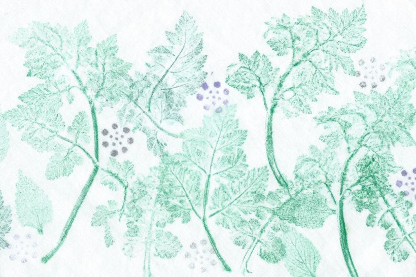 jelly print of green leaves with purple berries on fabric