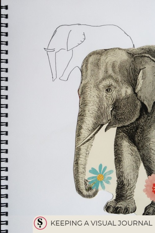 Keeping a Visual Journal text with picture of elephant in a sketch book
