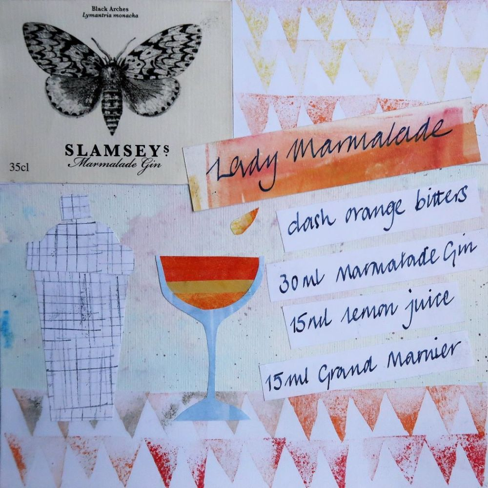 Lady Marmalade cocktail collage with ingredients and Marmalade Gin label