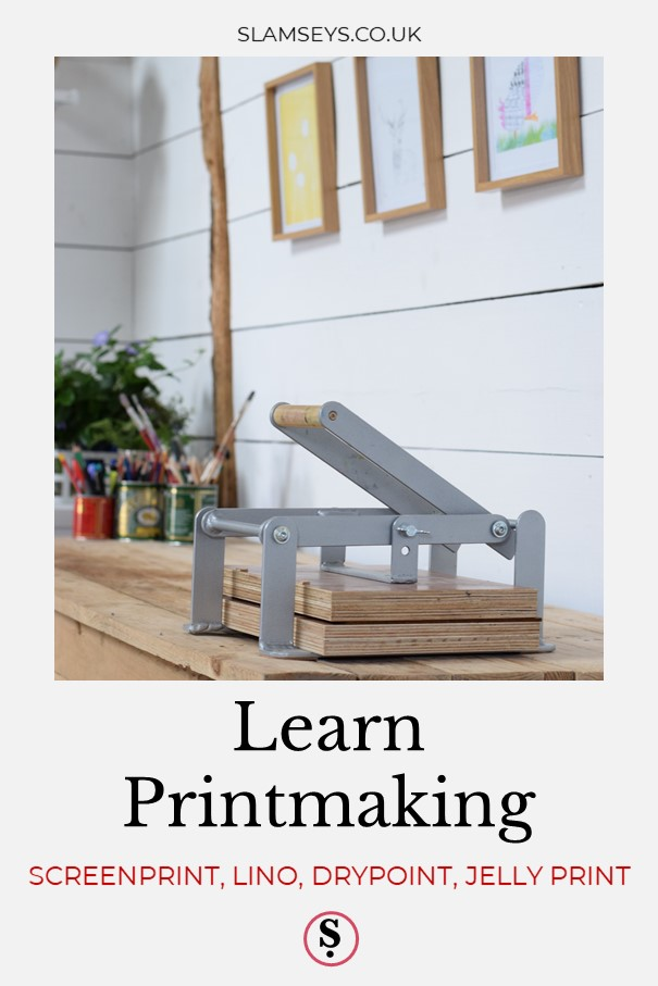 Learn printmaking text with printing press