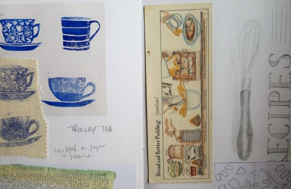 prints of tea cups, recipe card, sketch in visual journal