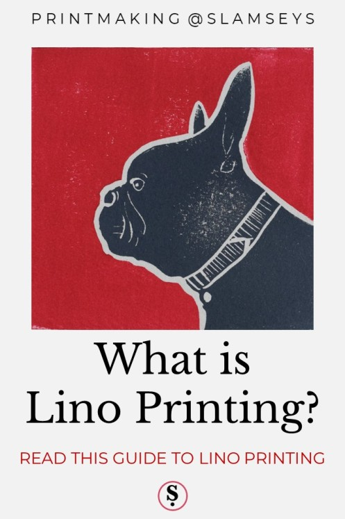 what is lino printing text below lino print of grey dog on red background