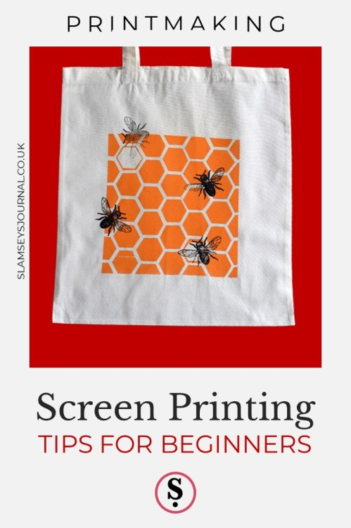 screen printed tote bag showing bees and honeycomb