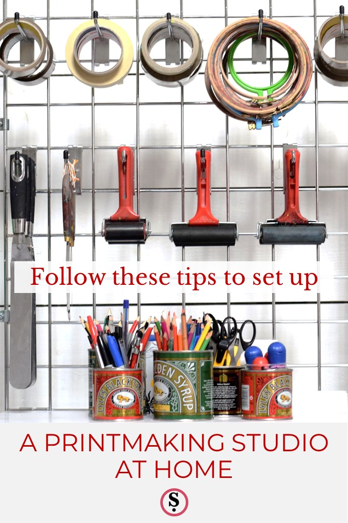 Printmaking equipment above text Follow these tips to set up a print studio at home.