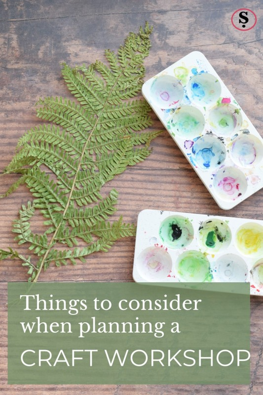 Bracken frond and paint palettes