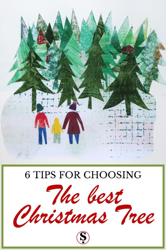 Paper collage of three figures in front of trees with text 6 tips for choosing the best Christmas tree