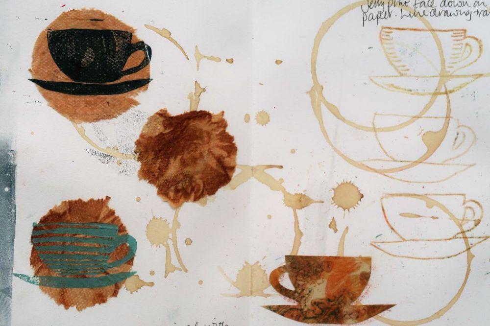 Cup and saucer print on teabag