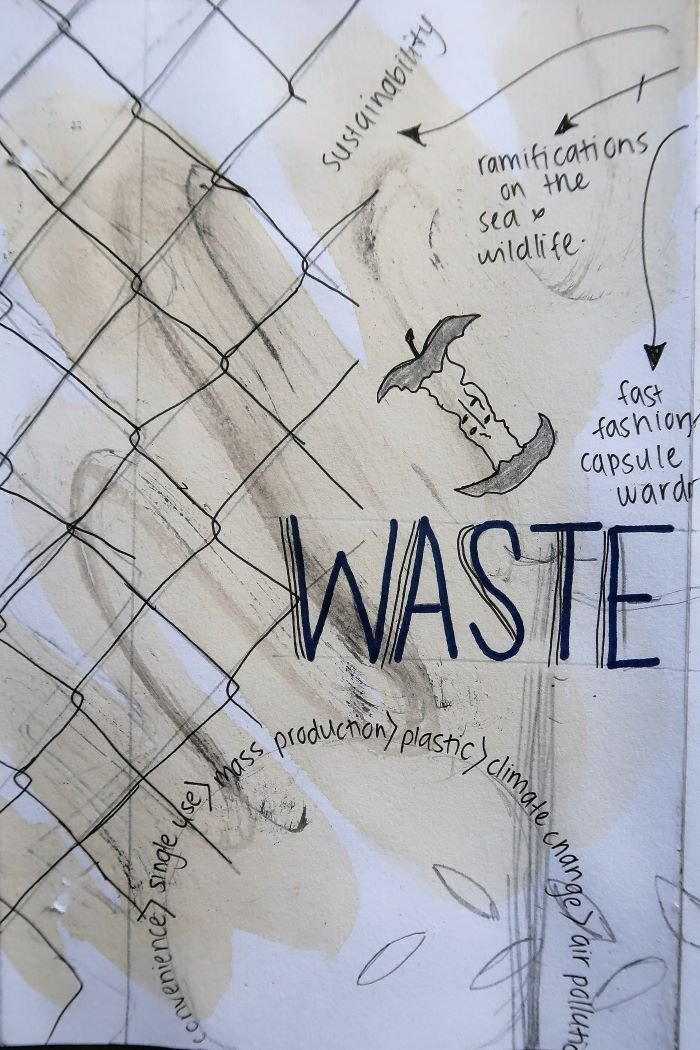 Waste Matters sketchbook for printmaking course