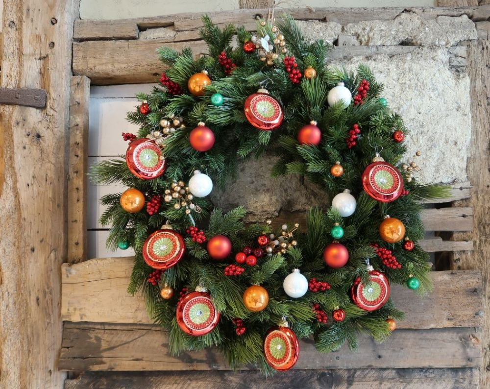 Christmas wreath with traditional decorations