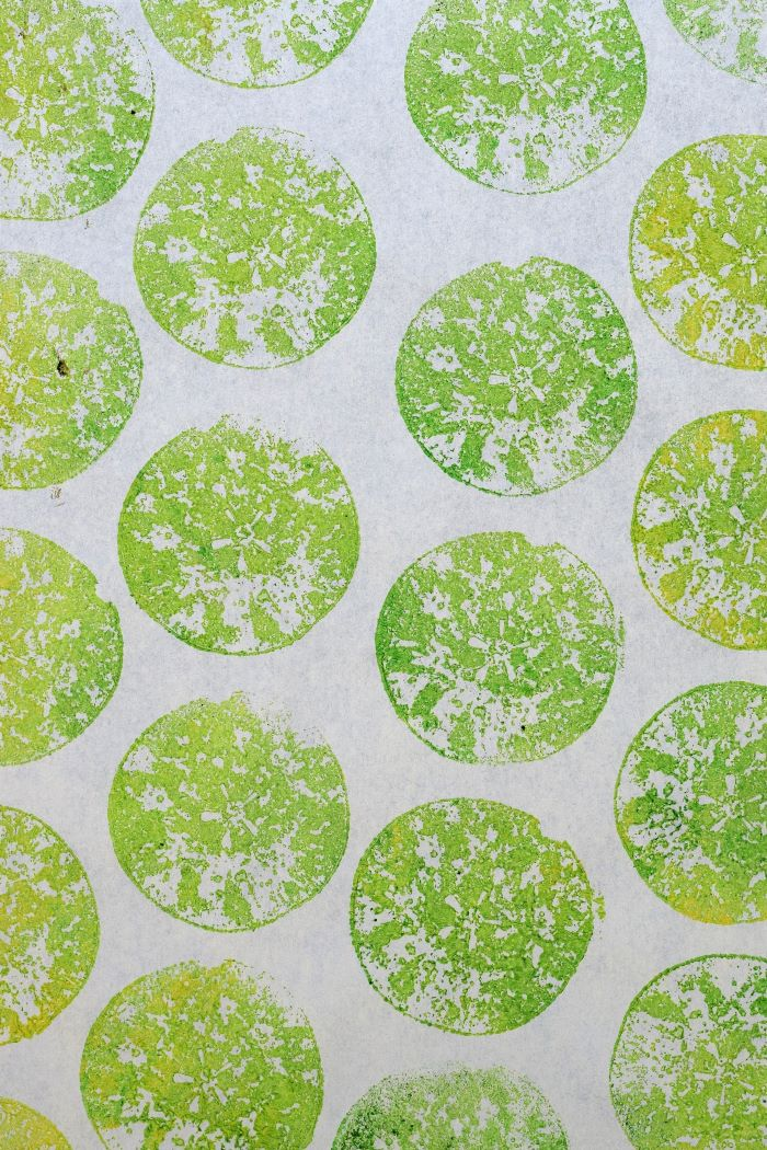 Green prints made with apple