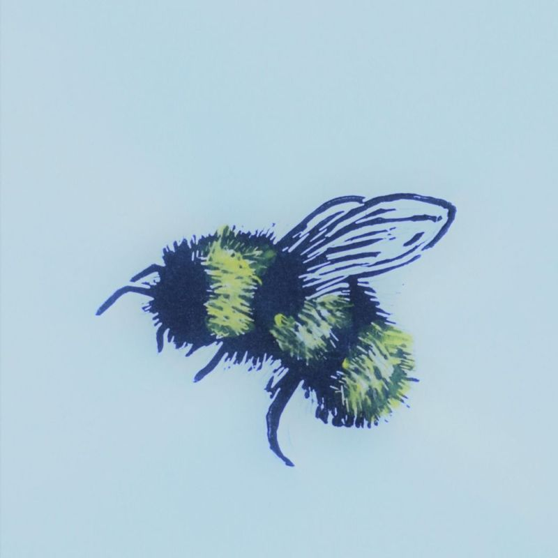 lino print of bee with hand colouring