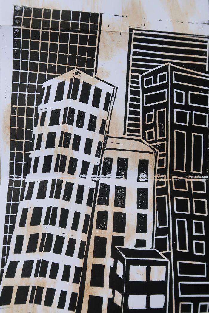 "Lino print ""Buildings"" by Abi Troy"