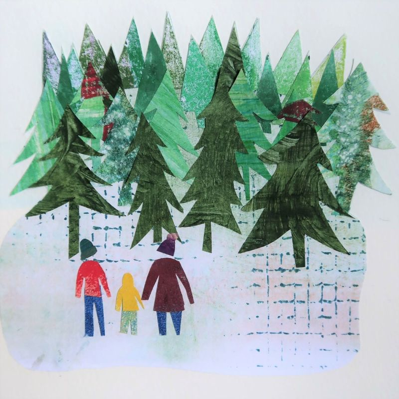 Collage of family group in front of forest of Christmas trees