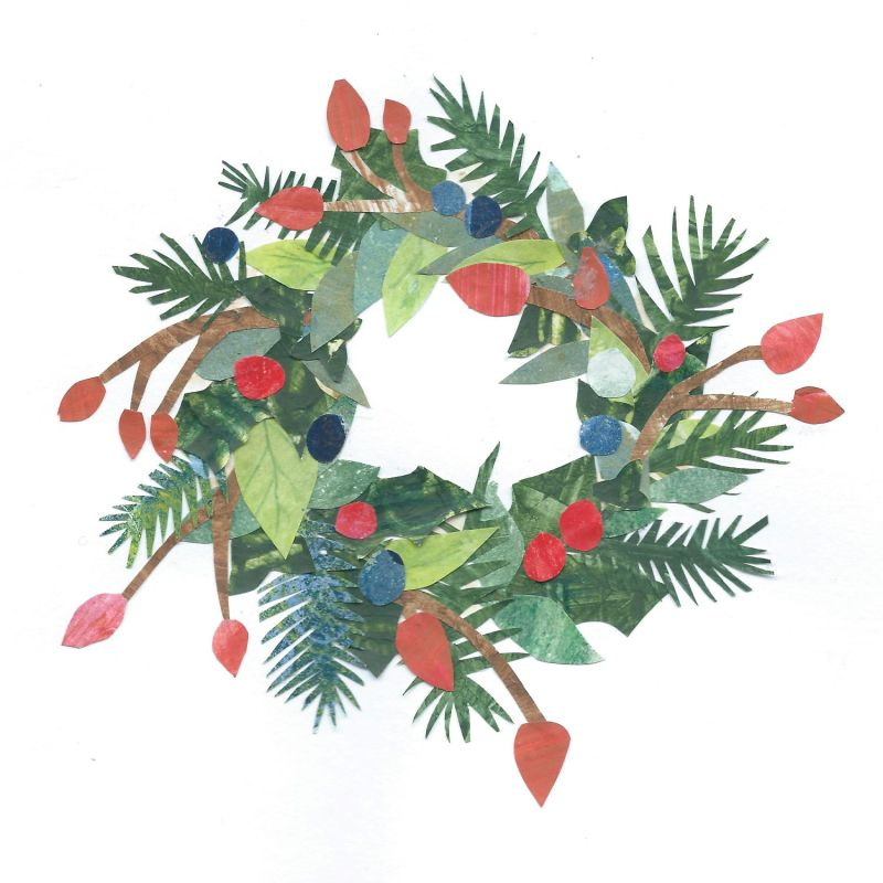collage of Christmas wreath