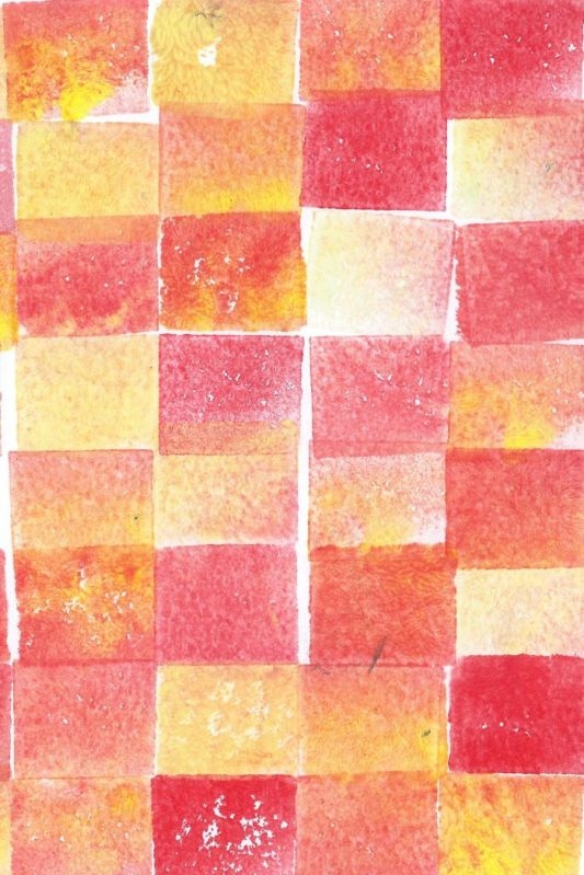 Red orange yellow squares potato print