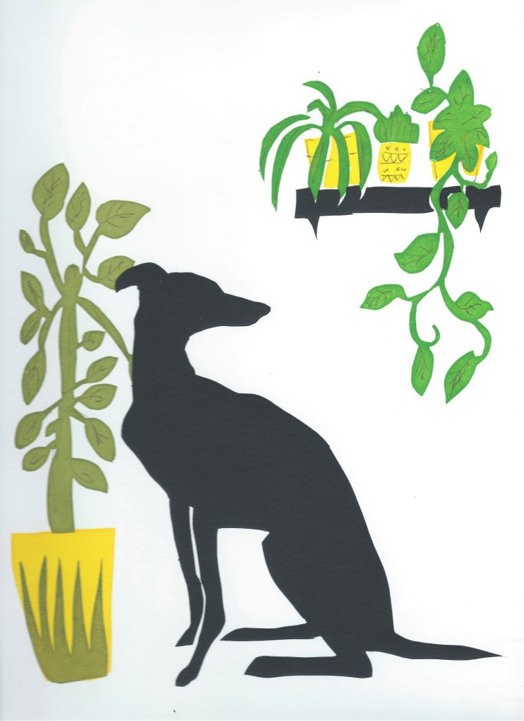 dog with plants screen print
