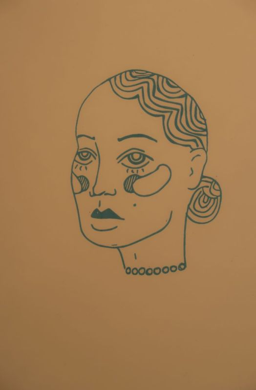 Woman's face screen print on brown background