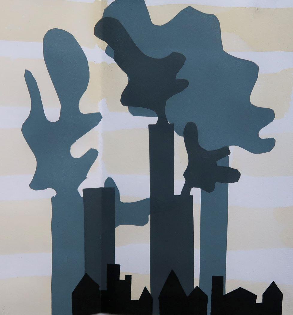 screen print of chimneys belching smoke