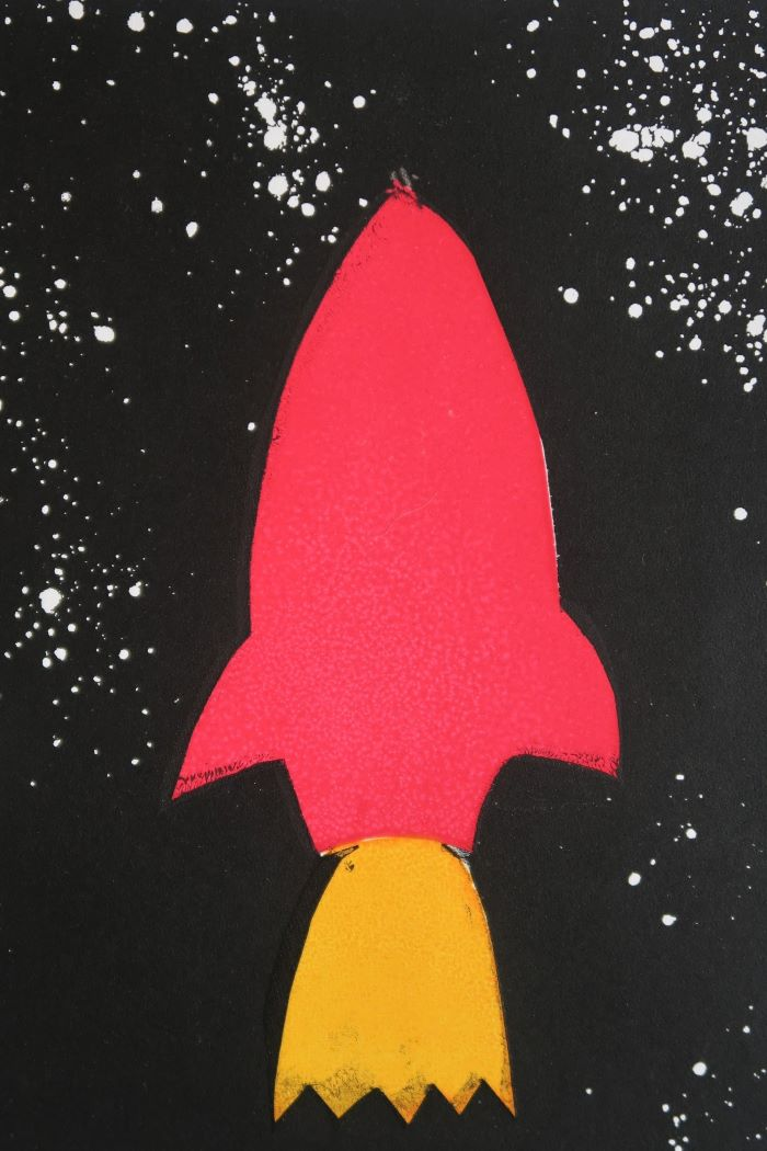 rocket on starry night background screen print