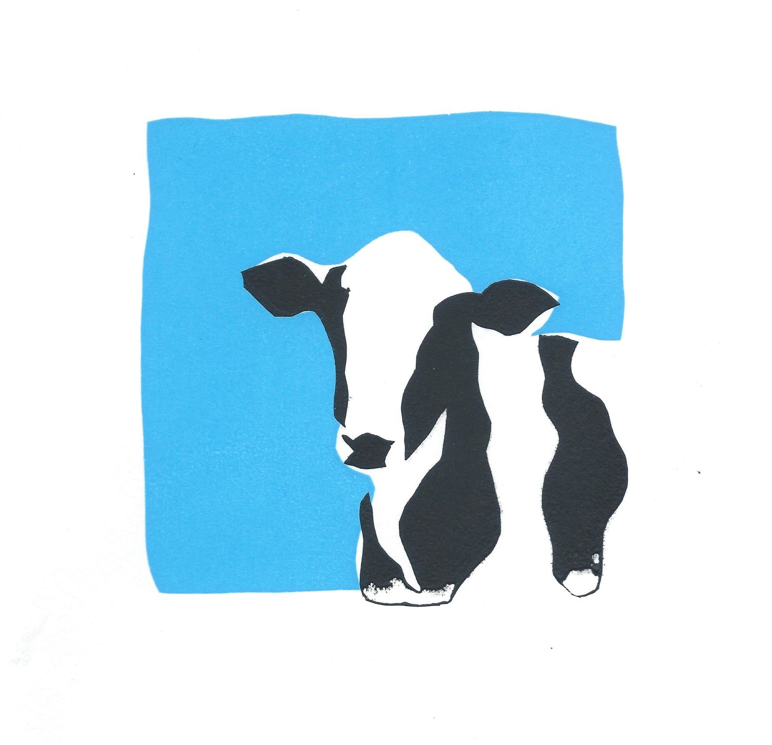 Screenprint of black and white cow on blue background