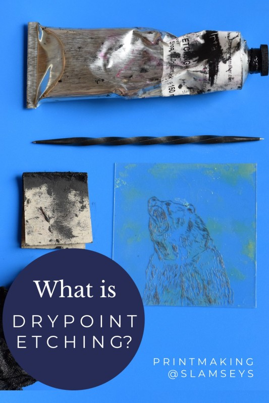What is drypoint etching text with tube of ink, etching needle and perspex plate