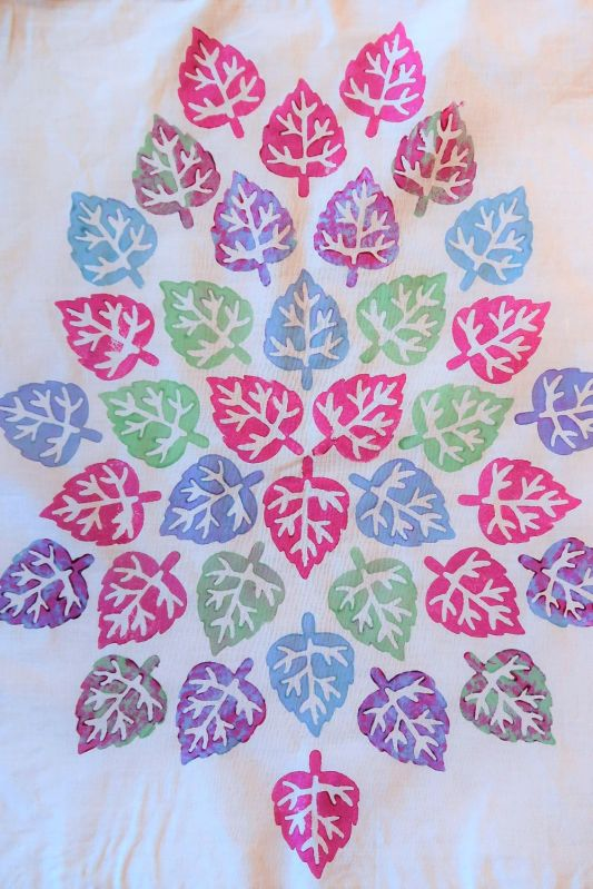 mulit coloured leaf pattern on fabric