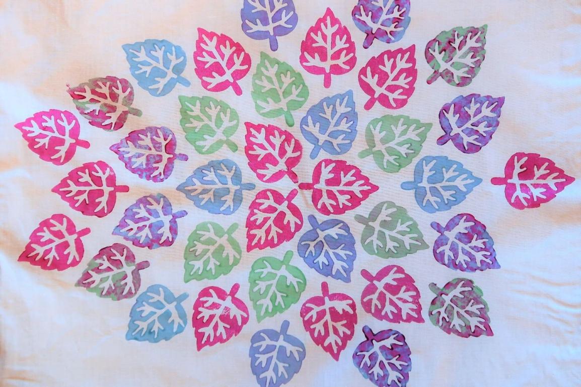mulit coloured leaf pattern on fabric