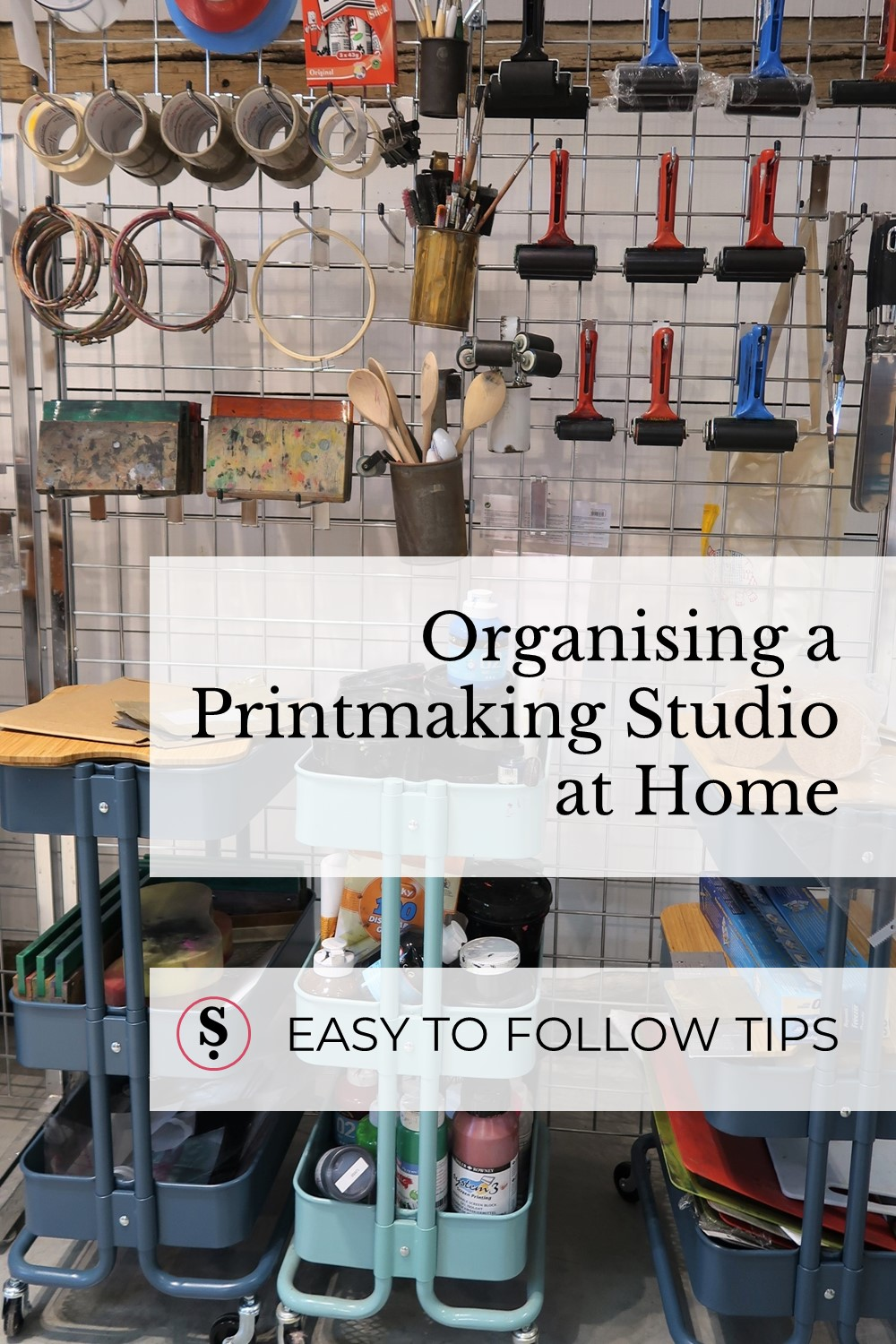 organising a printmaking studio at home text in front of racks of printmaking equipment