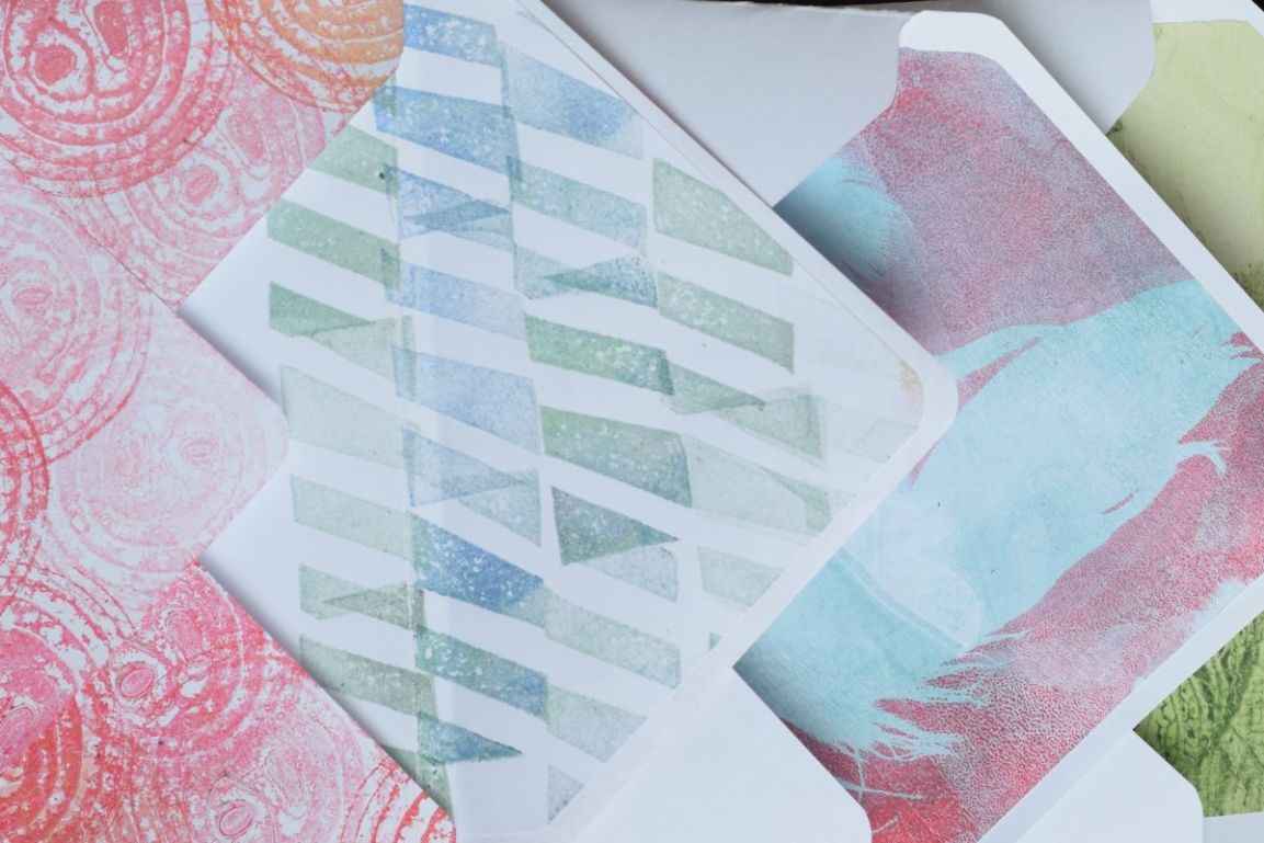 DIY envelopes lined with hand printed paper