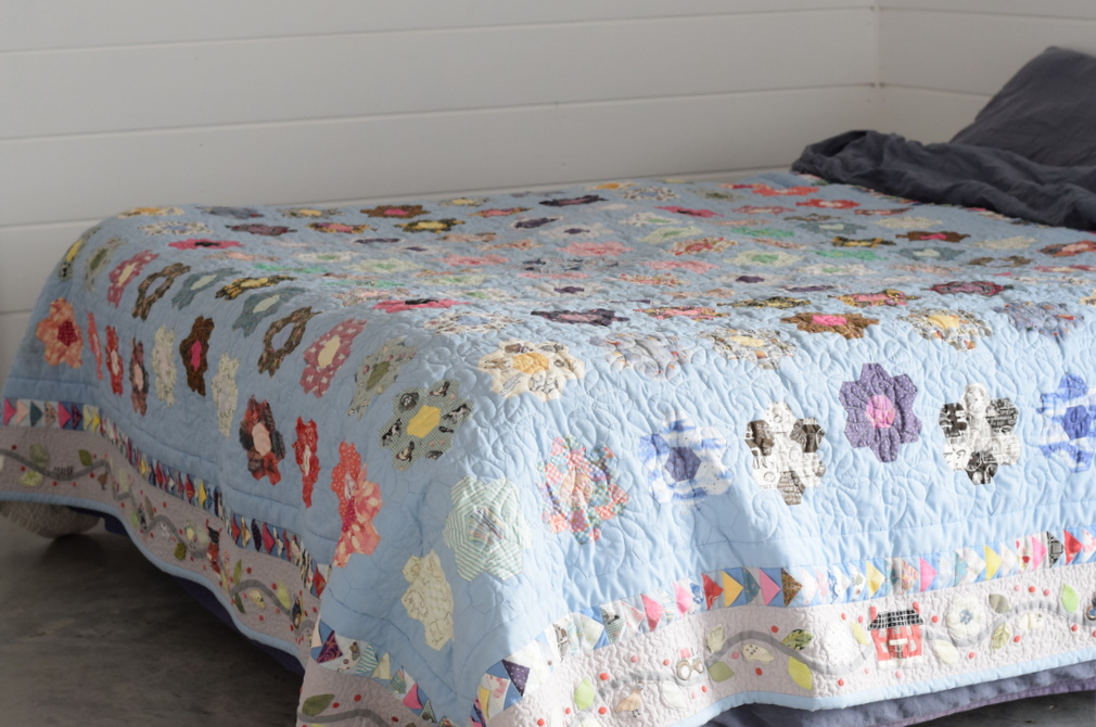 Hand sewn patchwork quilt