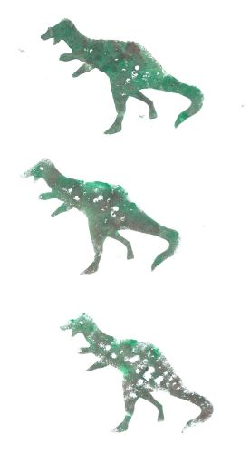 dinosaurs printed with foam shapes