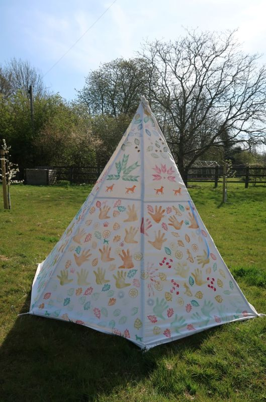 DIY wigwam made from dustsheet and printed with blocks made from foam shapes and screenprints.