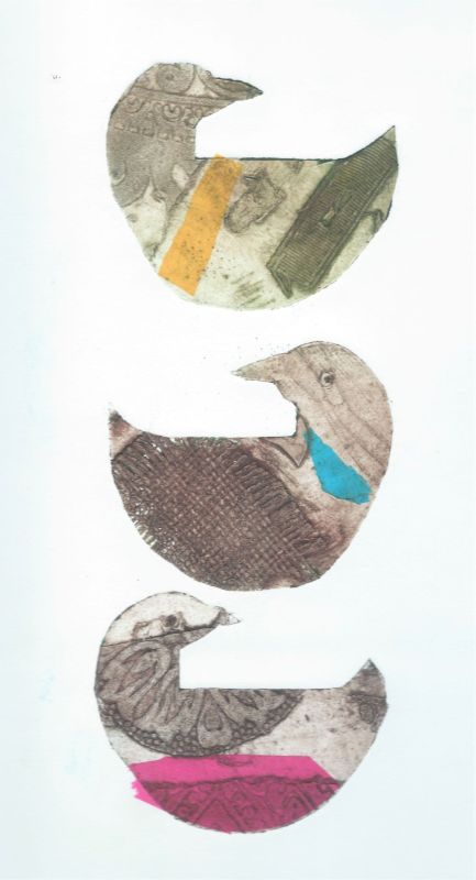 Three hens collagraph