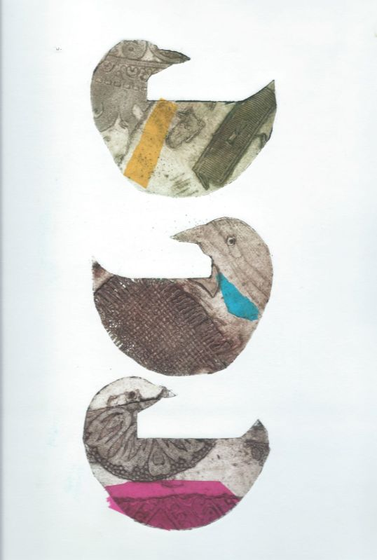 collagraph print of three hens