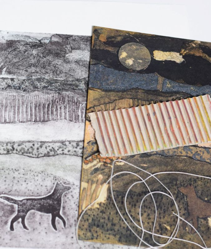 collagraph print of dog with collagraph plate