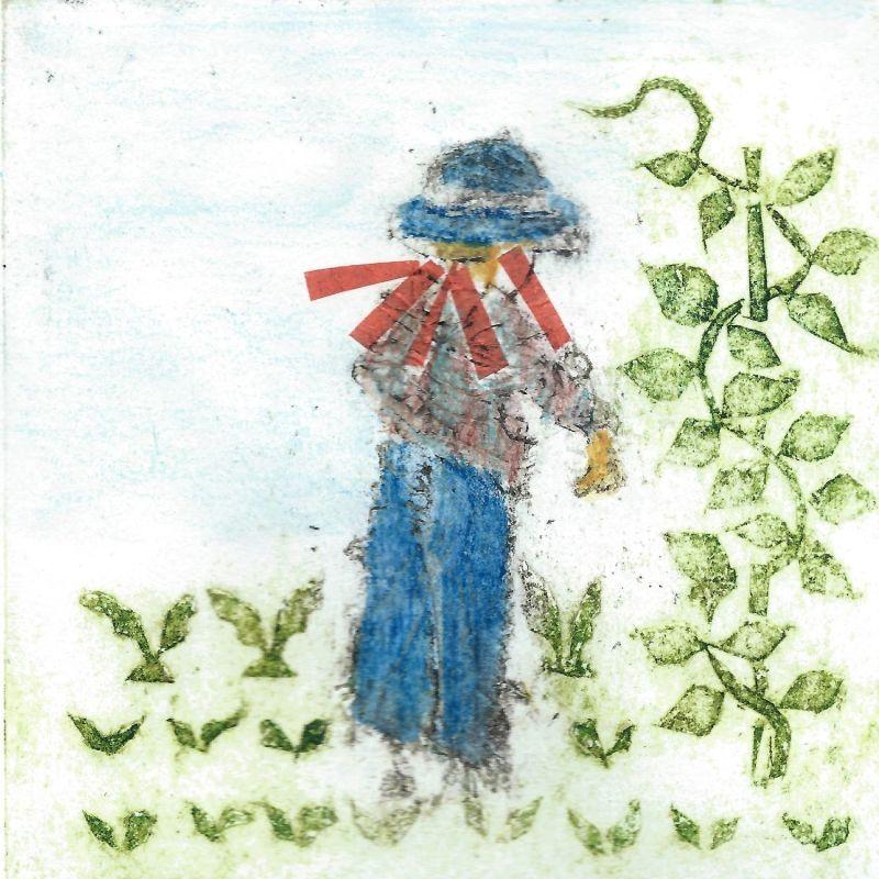 collagraph of scarecrow in garden