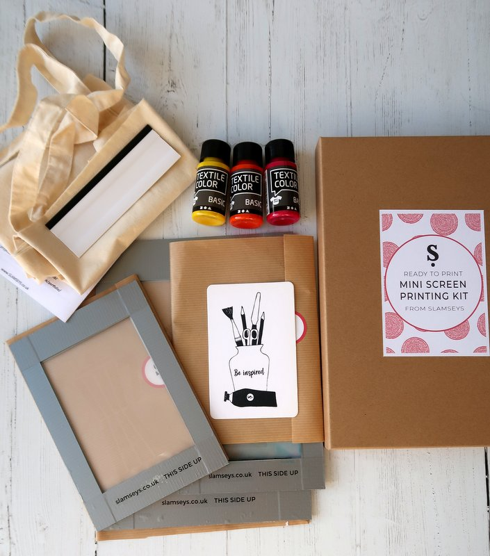 Contents of Ready to Print Mini Screen Craft Kit - The Collection Kit